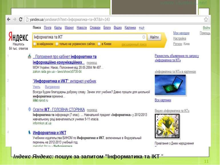 """Індекс Яндекс: пошук за запитом """"Інформатика та ІКТ """" *"""