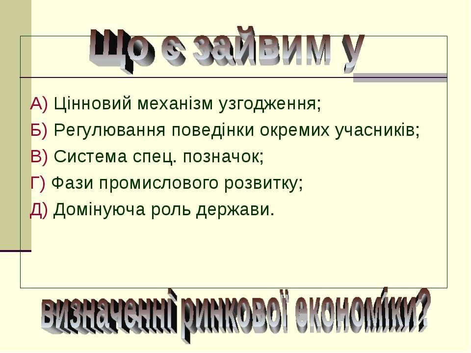 А) Цінновий механізм узгодження; Б) Регулювання поведінки окремих учасників; ...