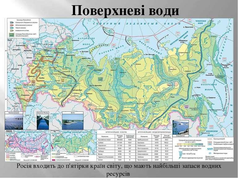 Поверхневі води Росія входить до п'ятірки країн світу, що мають найбільші зап...
