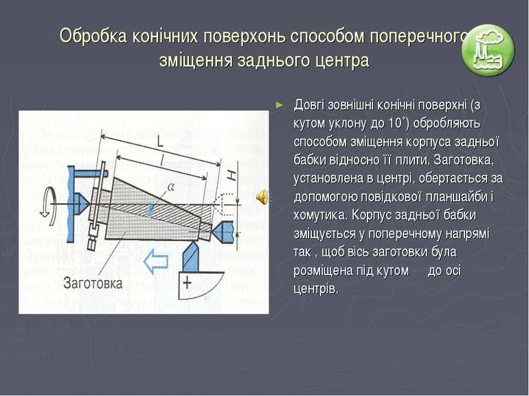 Обробка конічних поверхонь способом поперечного зміщення заднього центра Довг...