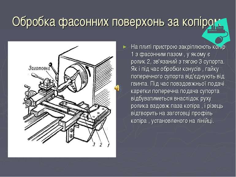 Обробка фасонних поверхонь за копіром. На плиті пристрою закріплюють копір 1 ...