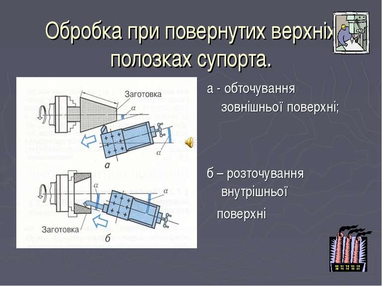 Обробка при повернутих верхніх полозках супорта. а - обточування зовнішньої п...