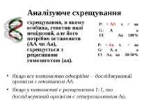 Аналізуюче схрещування P: ♀ АА x ♂ аа G: А а F1 Аа 100% P: ♀ Аа x ♂ аа G: А, ...