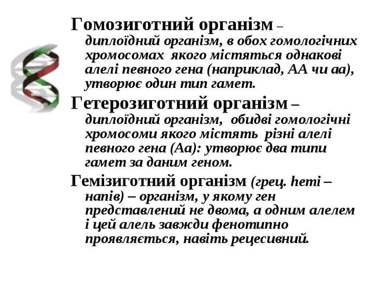 Гомозиготний організм – диплоїдний організм, в обох гомологічних хромосомах я...