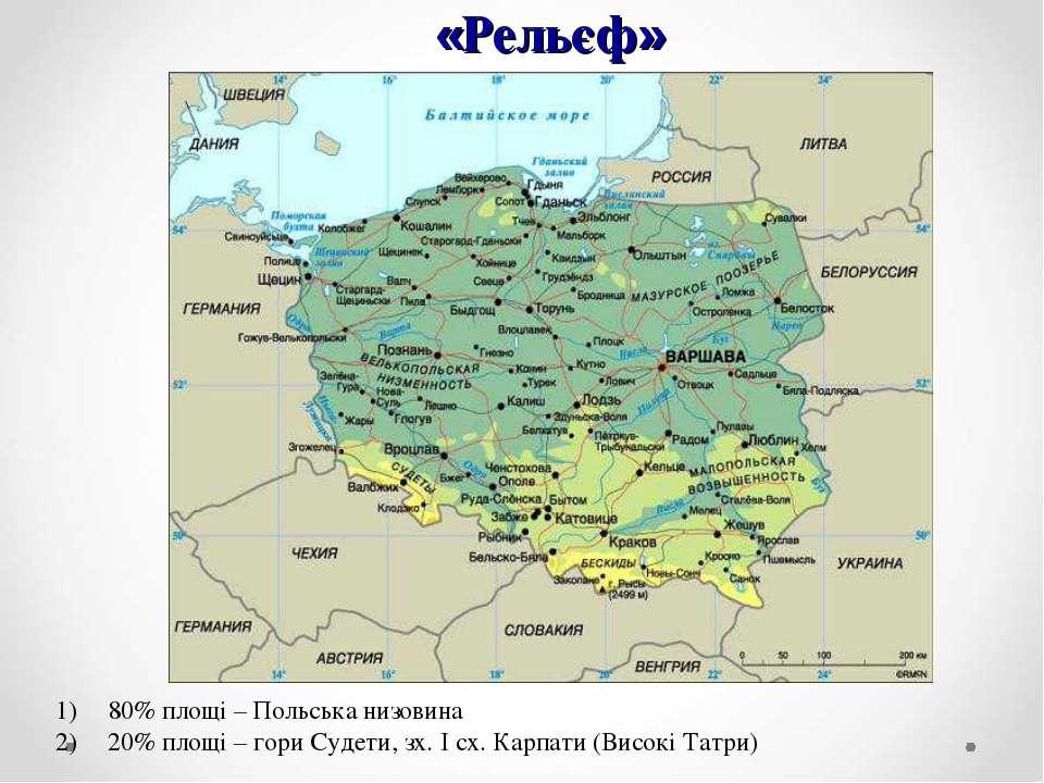 «Рельєф» 80% площі – Польська низовина 20% площі – гори Судети, зх. І сх. Кар...