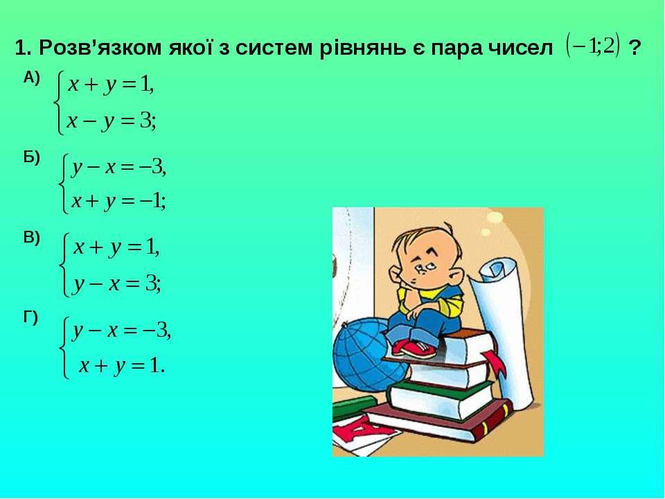 1. Розв'язком якої з систем рівнянь є пара чисел ? А) Б) В) Г)