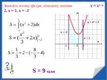 Знайдіть площу фігури, обмежену лініями у = х2 + 2, х = 1, х = -2 у S = 9 ед.кв