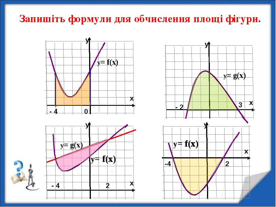 y Запишіть формули для обчислення площі фігури. y= f(x) y= f(x) -4 2 - 2 3 0 ...