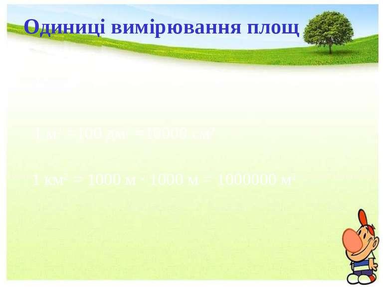 Одиниці вимірювання площ 1 дм2=100 см2 1 см2=100 мм2 1 м2 =100 дм2 =10000 см2...