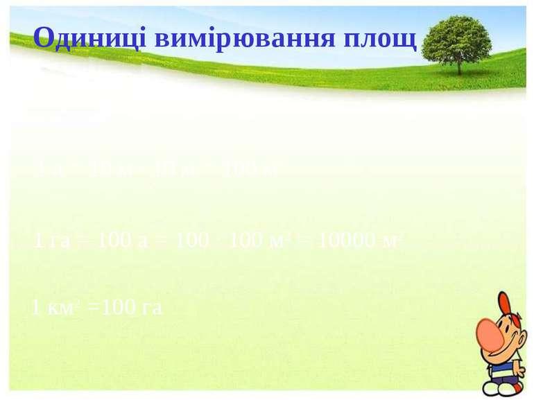 Одиниці вимірювання площ 1 а = 10 м · 10 м = 100 м2 1 га = 100 а = 100 ·100 ...