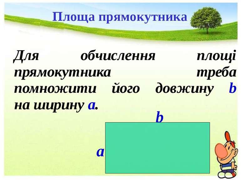 Для обчислення площі прямокутника треба помножити його довжину b на ширину a....
