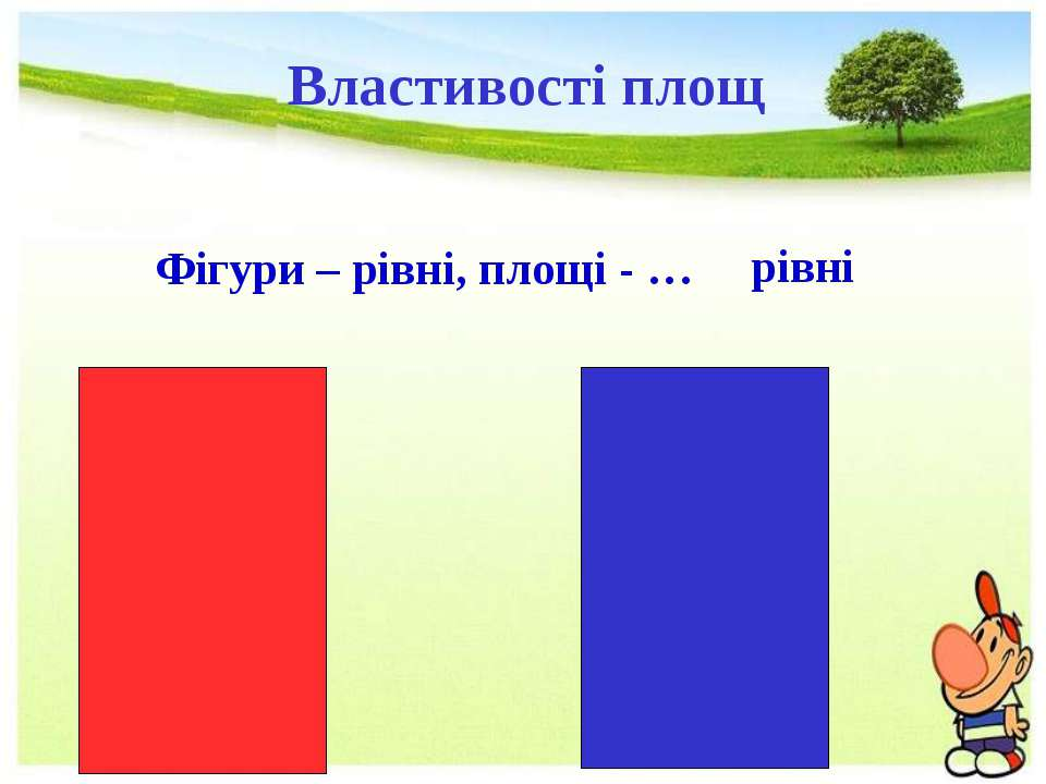 Фігури – рівні, площі - … рівні Властивості площ