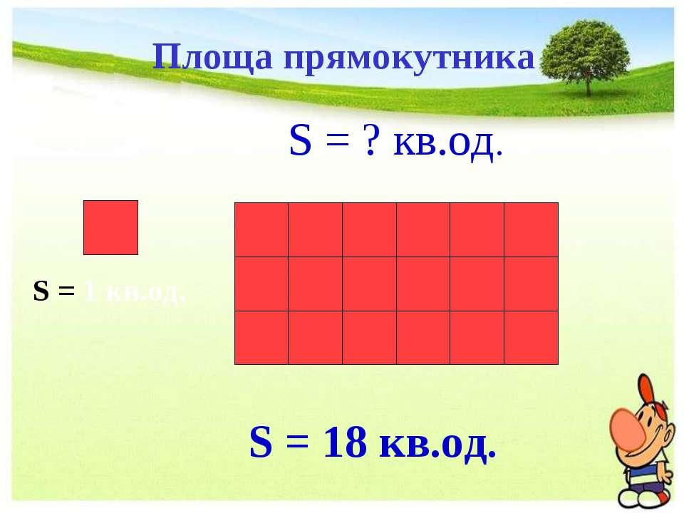 S = ? кв.од. S = 18 кв.од. S = 1 кв.од. Площа прямокутника