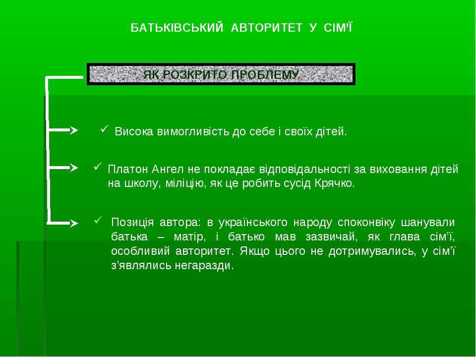 Позиція автора: в українського народу споконвіку шанували батька – матір, і б...