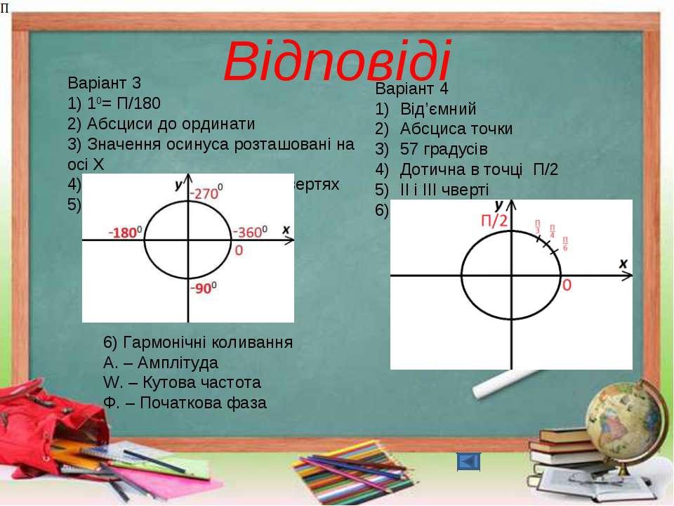 Відповіді Варіант 3 1) 10= П/180 2) Абсциси до ординати 3) Значення осинуса р...
