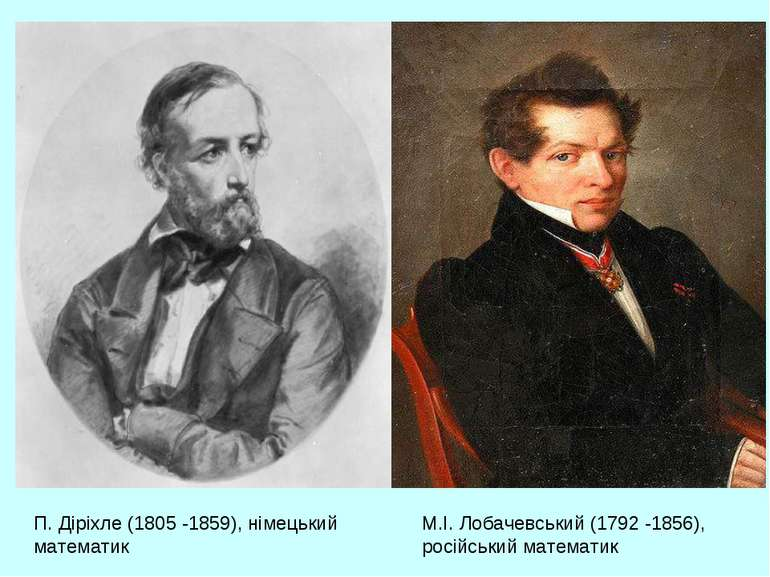 П. Діріхле (1805 -1859), німецький математик М.І. Лобачевський (1792 -1856), ...