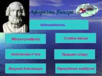 Афоризми Гомера Відповідність Яблуко розбрату Ахіллесова п*ята Віщунка Кассан...
