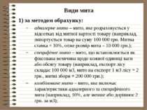 Види мита 1) за методом обрахунку: адвалерне мито – мито, яке розраховується ...
