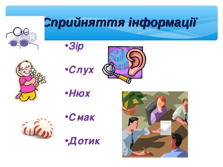 Сприйняття інформації Зір Слух Нюх Смак Дотик
