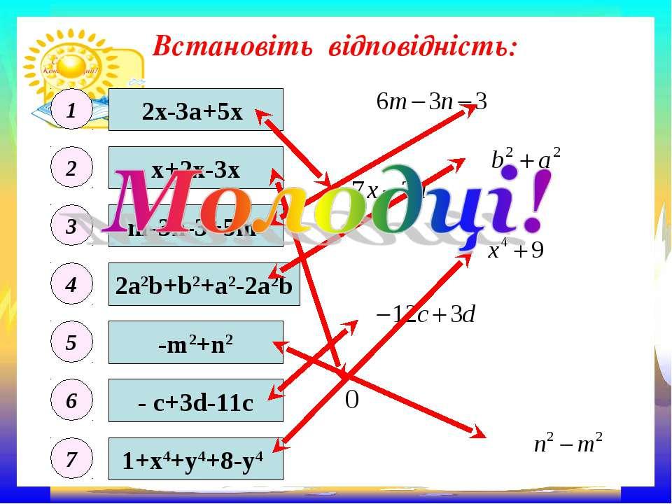 Встановіть відповідність: 2x-3а+5х - c+3d-11c m-3n-3+5m 1+x4+y4+8-y4 2a2b+b2+...