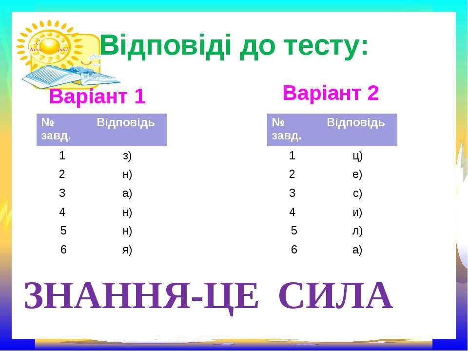 Відповіді до тесту: Варіант 1 Варіант 2 ЗНАННЯ-ЦЕ СИЛА № завд. Відповідь 1 з)...
