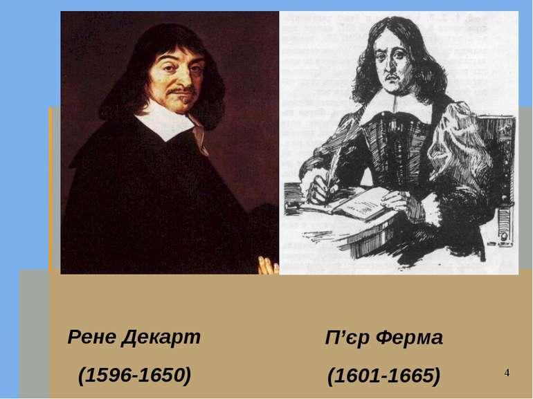 Рене Декарт (1596-1650) П'єр Ферма (1601-1665)