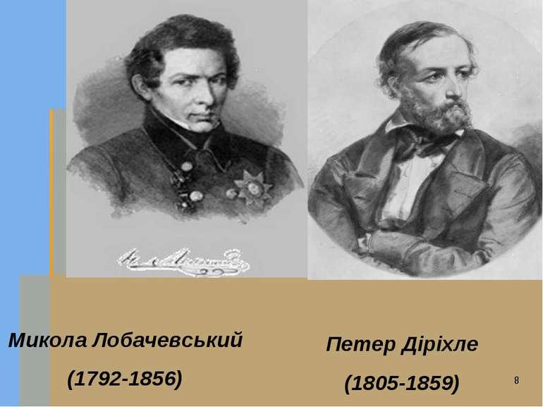Микола Лобачевський (1792-1856) Петер Діріхле (1805-1859)