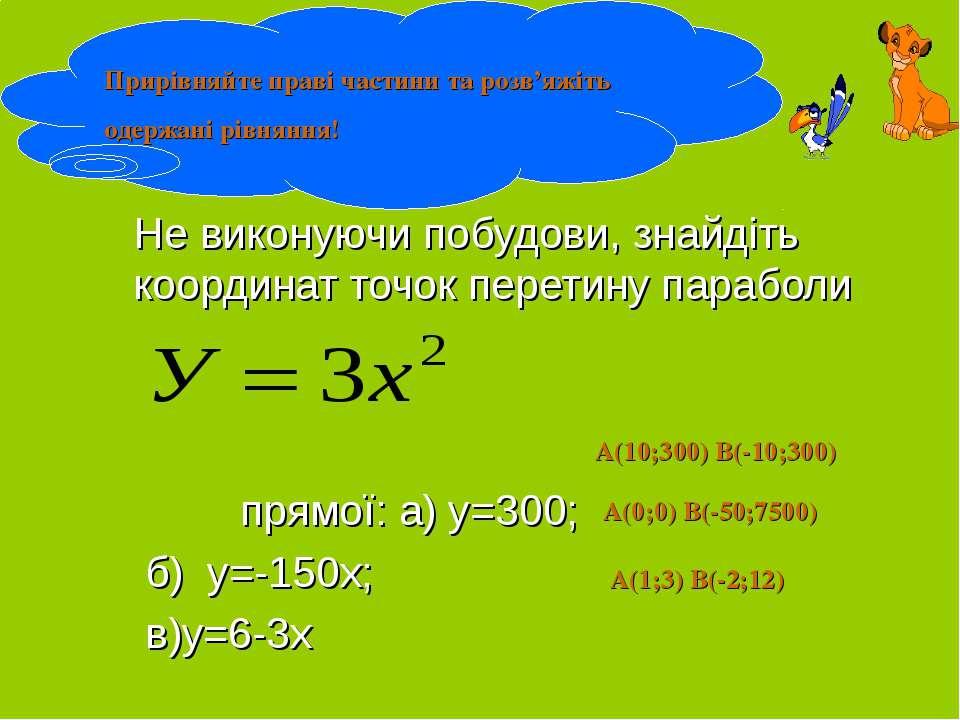 Не виконуючи побудови, знайдіть координат точок перетину параболи прямої: а) ...