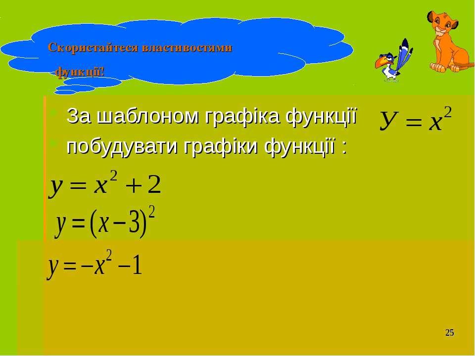 За шаблоном графіка функції побудувати графіки функції : Скористайтеся власти...