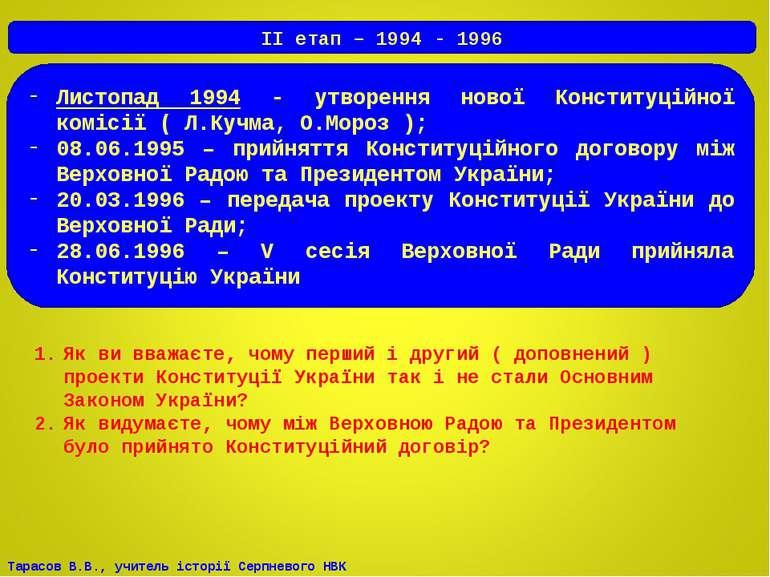 Листопад 1994 - утворення нової Конституційної комісії ( Л.Кучма, О.Мороз ); ...