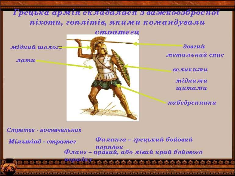 Грецька армія складалася з важкоозброєної піхоти, гоплітів, якими командували...