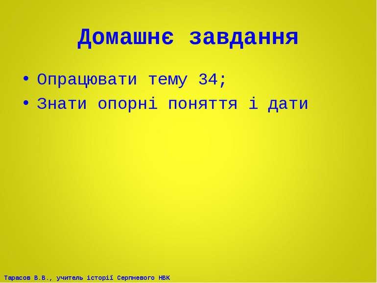 Домашнє завдання Опрацювати тему 34; Знати опорні поняття і дати Тарасов В.В....