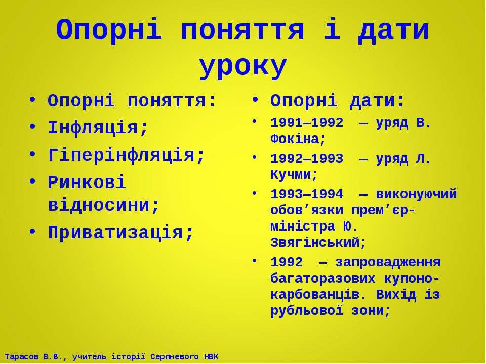 Опорні поняття і дати уроку Опорні поняття: Інфляція; Гіперінфляція; Ринкові ...