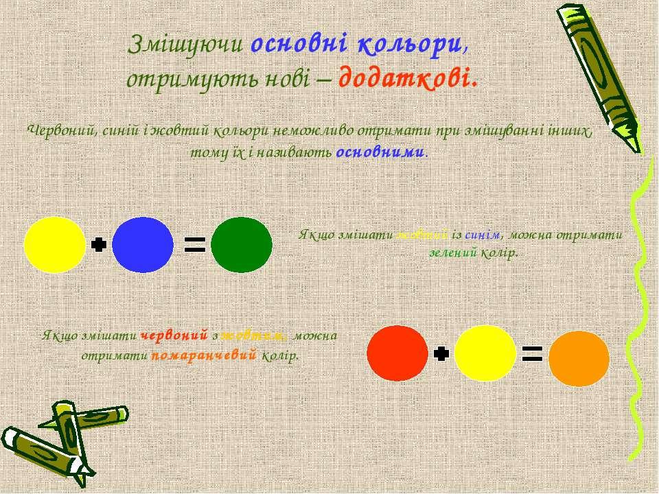 Червоний, синій і жовтий кольори неможливо отримати при змішуванні інших, том...