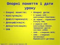 Опорні поняття і дати уроку Опорні поняття: Капітуляція; Демілітаризація; Ден...