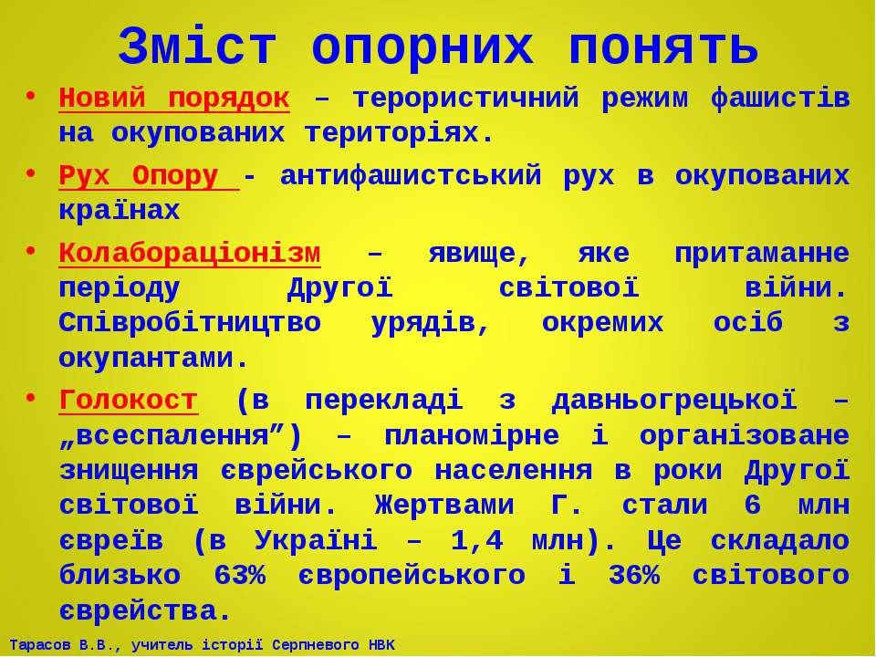 Зміст опорних понять Новий порядок – терористичний режим фашистів на окупован...
