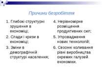 Причини безробіття 1. Глибокі структурні зрушення в економіці; 2. Спади і кри...