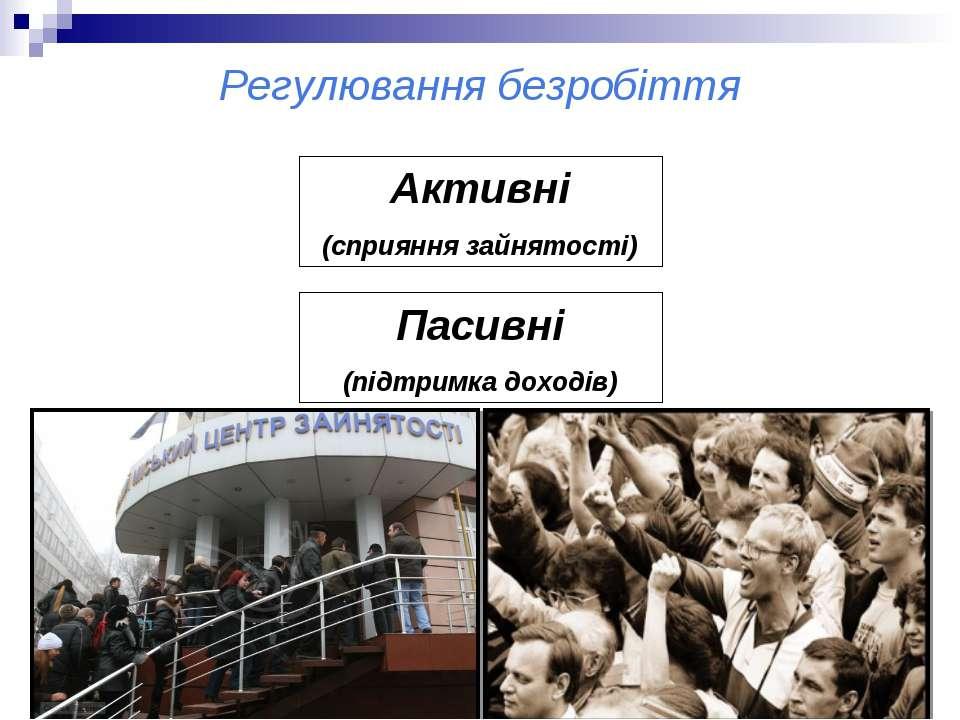 Регулювання безробіття Активні (сприяння зайнятості) Пасивні (підтримка доходів)
