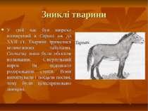 Зниклі тварини У свій час був широко поширений в Європі аж до ХVІІ ст. Тварин...
