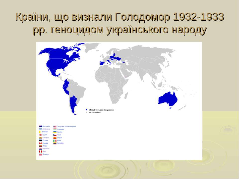 Країни, що визнали Голодомор 1932-1933 рр. геноцидом українського народу