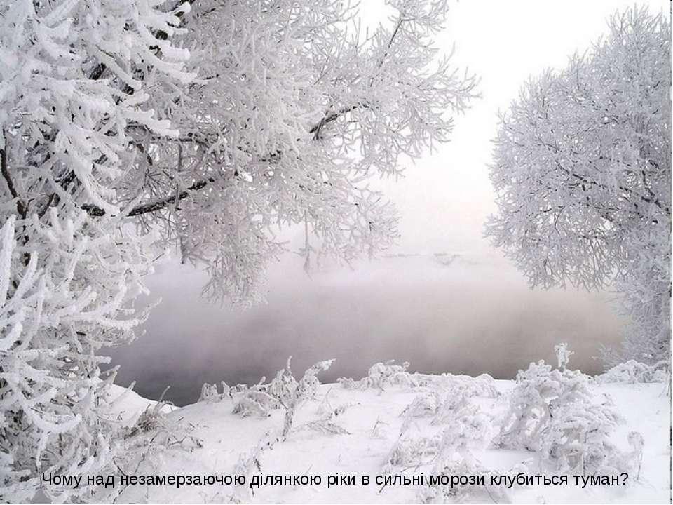 Чому над незамерзаючою ділянкою ріки в сильні морози клубиться туман?