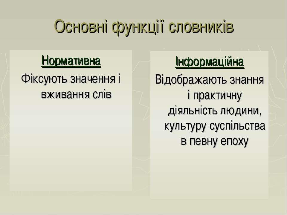 Основні функції словників Нормативна Фіксують значення і вживання слів Інформ...