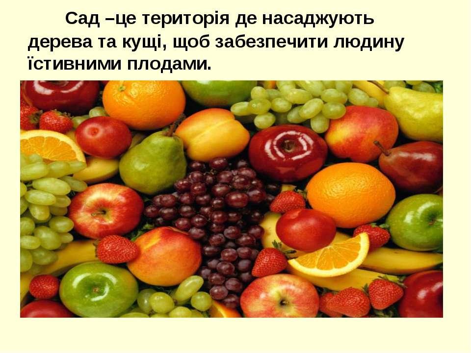 Сад –це територія де насаджують дерева та кущі, щоб забезпечити людину їстивн...
