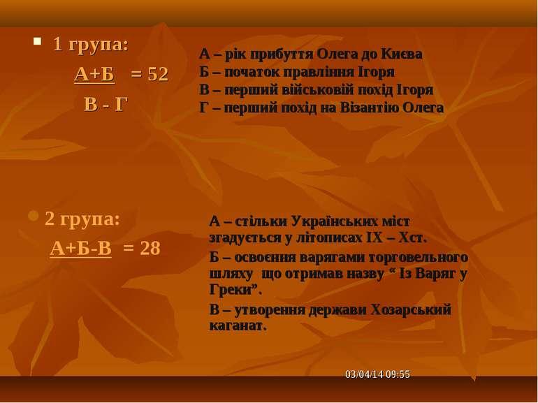 1 група: А+Б = 52 В - Г А – стільки Українських міст згадується у літописах I...