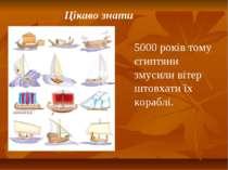 Цікаво знати 5000 років тому єгиптяни змусили вітер штовхати їх кораблі.