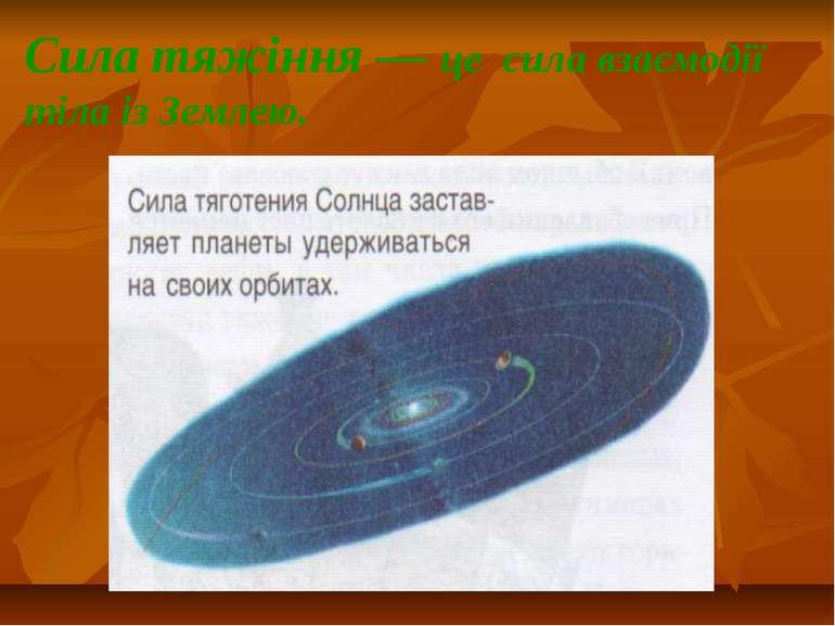 Сила тяжіння — це сила взаємодії тіла із Землею.