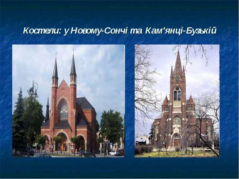 Костели: у Новому-Сончі та Кам'янці-Бузькій