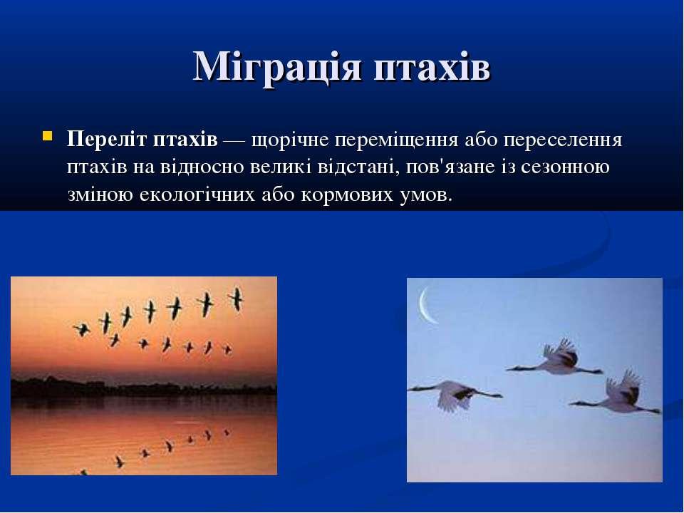 Міграція птахів Переліт птахів— щорічне переміщення або переселення птахів н...