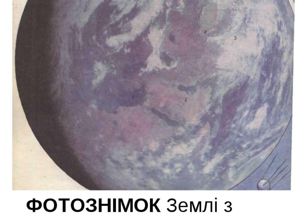 ФОТОЗНІМОК Землі з космосу Темні частини – вода. Світліші – суша. Зовсім світ...