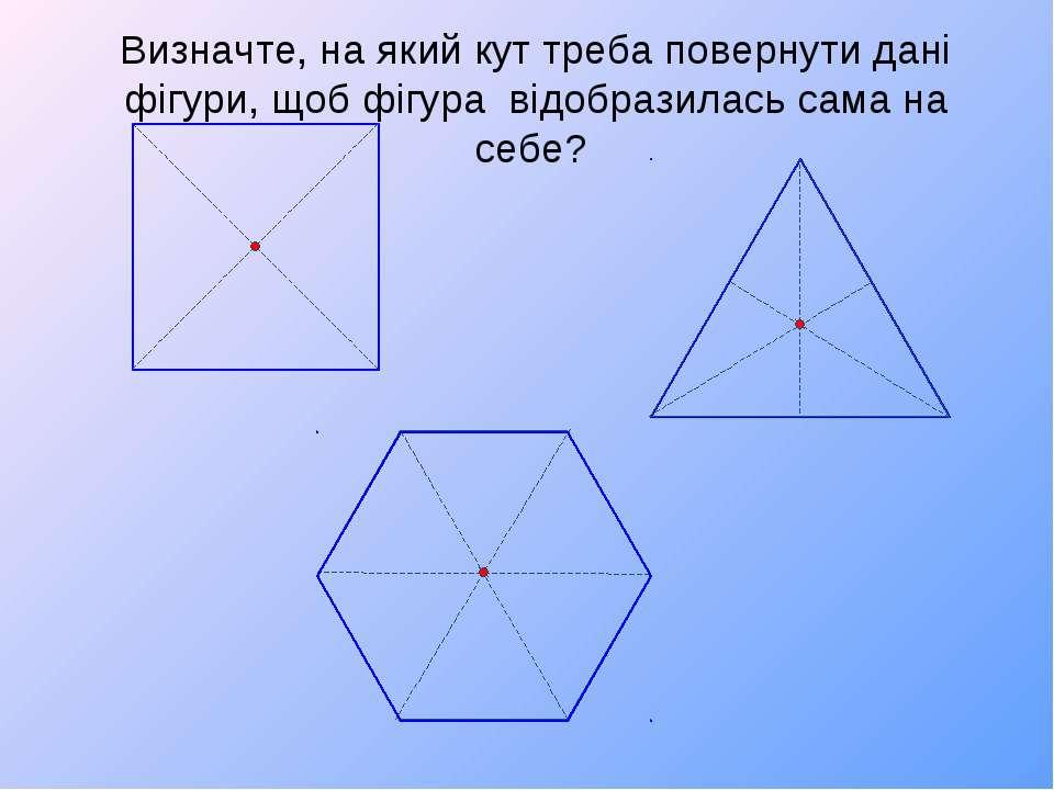 Визначте, на який кут треба повернути дані фігури, щоб фігура відобразилась с...